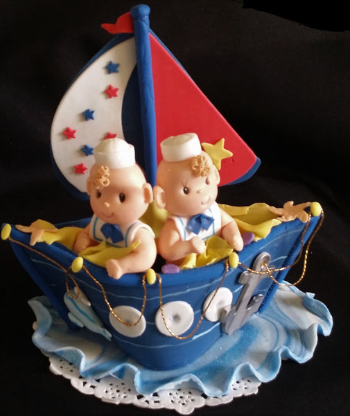 Nautical Twins Boys Baby Showe Twins Sailor Birthday Party Decorations Sailors in Blue Boat Cake Topper - Cake Toppers Boutique