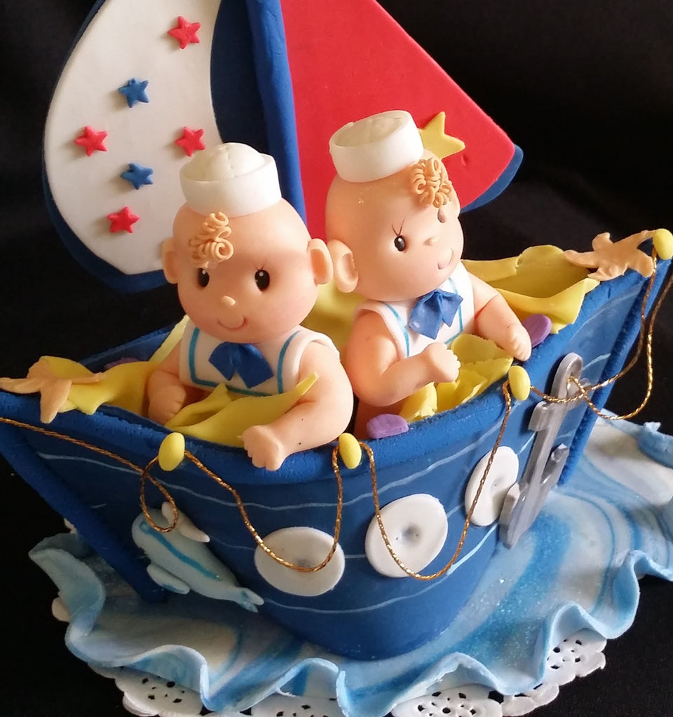 Nautical Twins Boys Baby Showe Sailor Birthday Party Decorations Sailors In Blue Boat Cake Topper