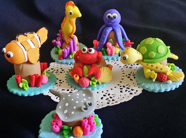 Sea Creatures Cake Decorations Under the sea Cake Topper Under the Sea Animals Cake Toppers 6pcs - Cake Toppers Boutique