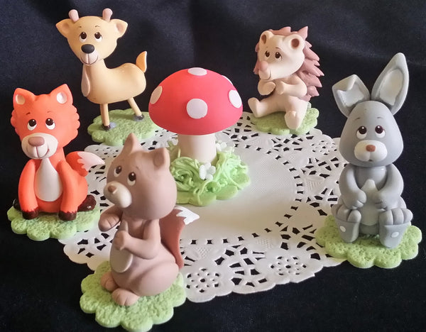 Woodland Animals Woodland Cake Toppers Forest Baby Animals Cake Decorations  6pcs - C T B