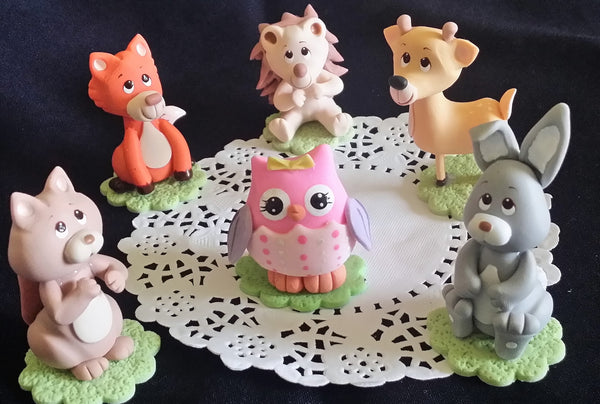 Forest Animals For Cake Woodland Cake Topper Woodland Cake Decoration Woodland Animals 6pcs - Cake Toppers Boutique