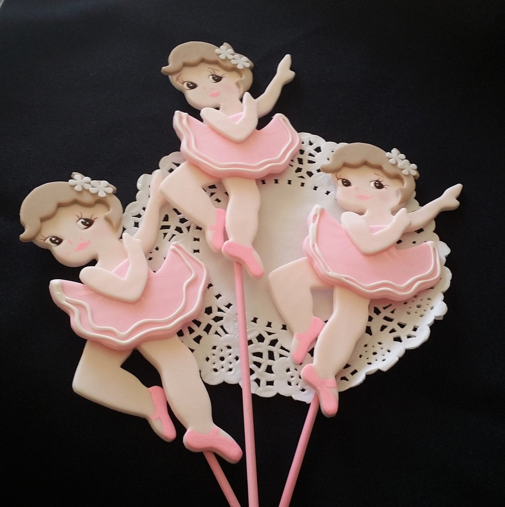 Ballerina Birthday Decorations Ballerina Cake Toppers Ballet Picks for Centerpieces and Cakes - Cake Toppers Boutique