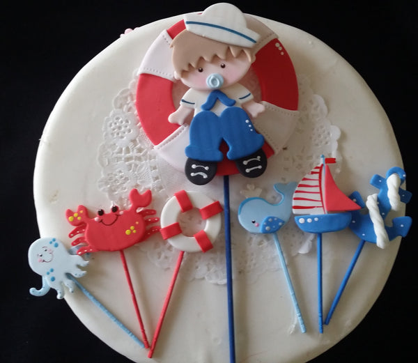 Sailor Cake Topper Nautical Baby Shower Decorations Picks Baby Sailor Centerpiece Picks 7pcs - Cake Toppers Boutique
