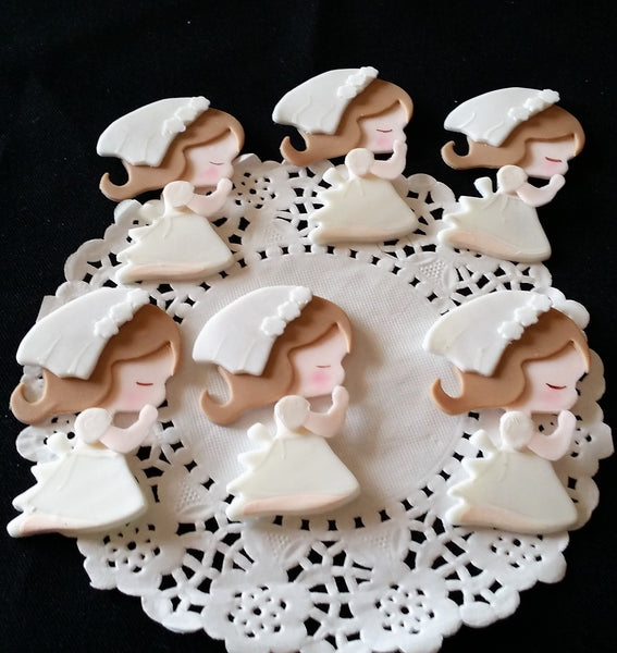 Christening Favors Girls Communion Cupcake Toppers Girl With White Gown 12pcs - Cake Toppers Boutique