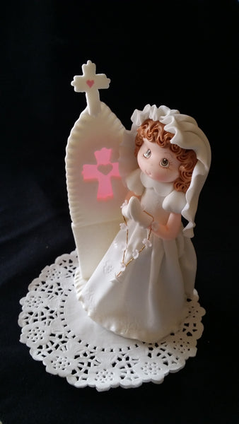 First Communion & Baptism Cake Decorations Boy Girl in White Gown Keepsake - Cake Toppers Boutique