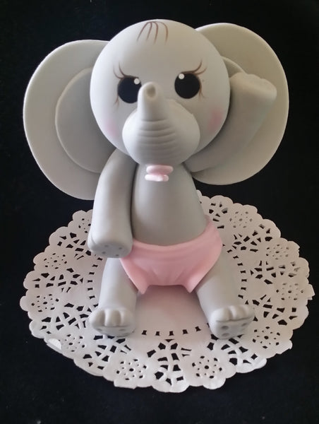 Gray Elephant Cake Topper Blue & Gray Elephant Decoration Baby Elephant Cake Topper - Cake Toppers Boutique
