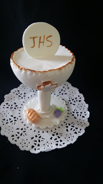 First Communion Chalice Cake Decorations Baptism Cake Topper White and Gold Chalice - Cake Toppers Boutique