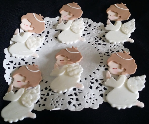 Girls Baptism Cupcake Toppers First Communions Angels Decoration - Cake Toppers Boutique