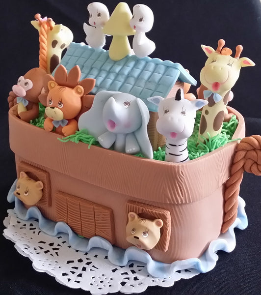 Noah's Ark Cake Topper Noah's Ark Birthday Theme Cake Topper Ark with Animals - C T B