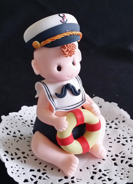 Nautical Party Decoration Baby Shower Sailor Cake Topper Nautical Red Blue White - Cake Toppers Boutique