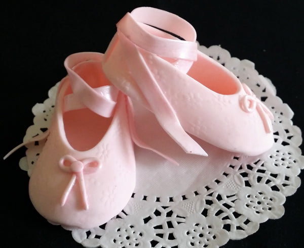 Baby Girl Cake Topper Baptism Girl Cake Decoration White & Pink Baby Shoes 2pcs - Cake Toppers Boutique