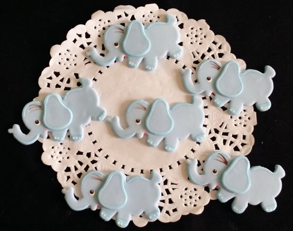 Elephant Cupcake Toppers Pink, Blue & Gray Baby Elephant Corsage Figurines 12pcs - Cake Toppers Boutique