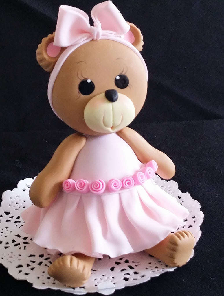 Pink Teddy Bear Cake Topper Baby Shower & Birthday Cake Decoration Baby Boy Teedy Bear - Cake Toppers Boutique