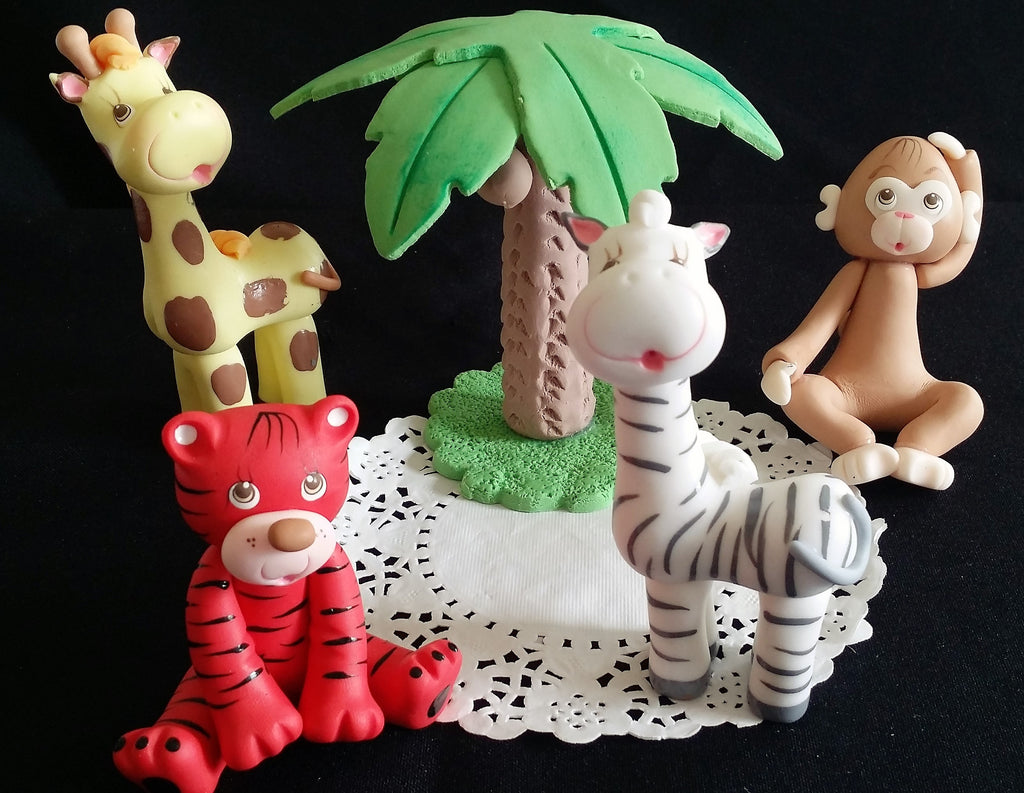 Jungle Birthday Decoration Safari Animals Cake Decorations Monkey Giraffe Zebra Tiger & Palm - Cake Toppers Boutique