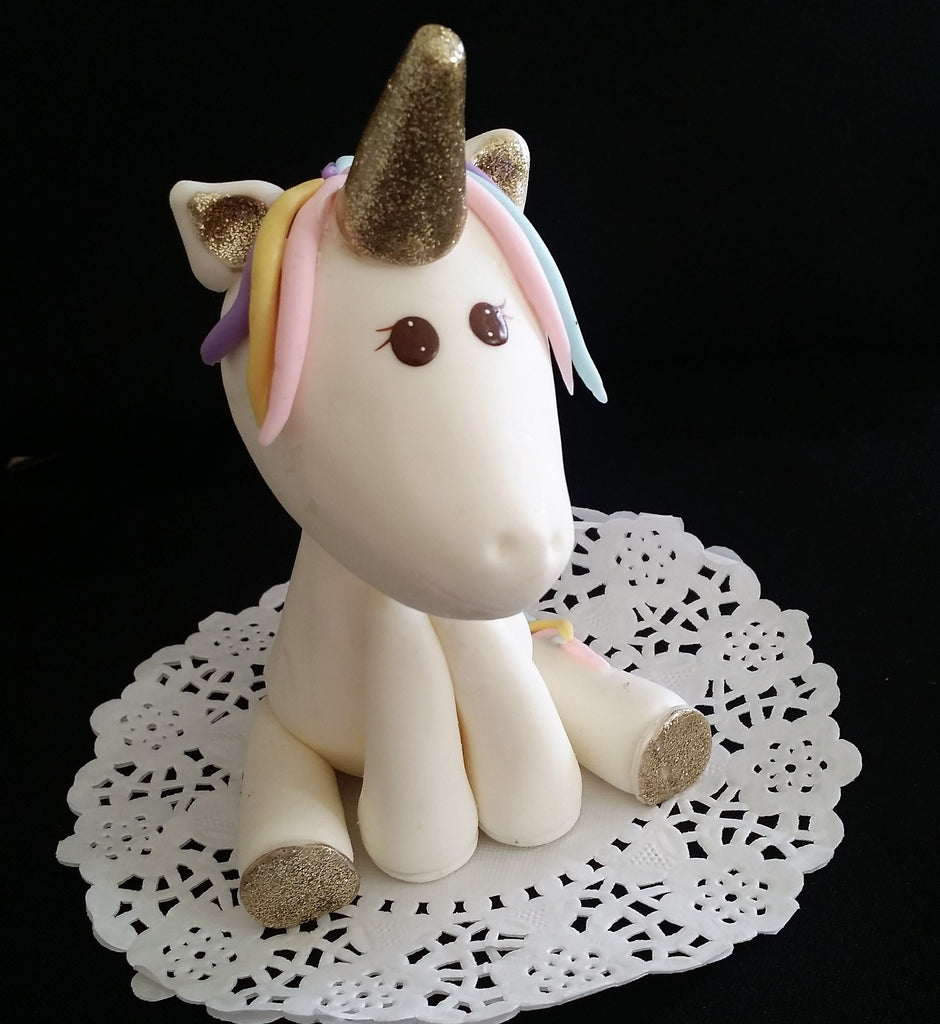 Unicorn Cake Topper Gold Unicorn Cake Decoration Rainbow Unicorn Cake Topper - Cake Toppers Boutique