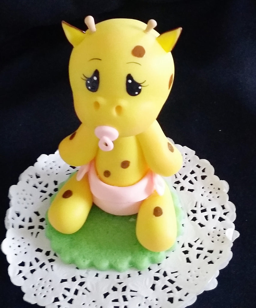 Baby Giraffe with Diaper and Picifier in Blue or Pink Giraffe Cake Decoration Baby Giraffe - Cake Toppers Boutique