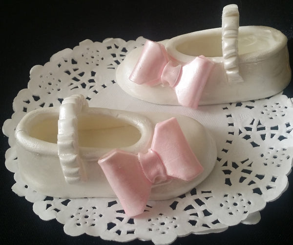 White and Pink Baby Girl Shoes Cake Topper Baptism Girl Cake Decoration Filliable Baby Shower Favors - Cake Toppers Boutique