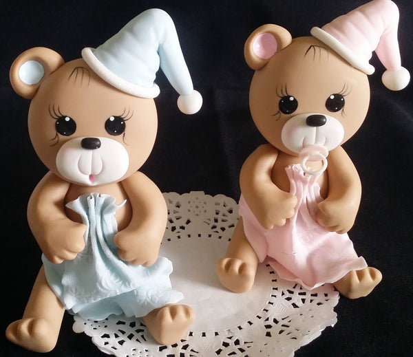 Teddy Bear Cake Topper in Pink or Blue Bear For Cake Decorations Baby Bear with Blanket & Hat - Cake Toppers Boutique