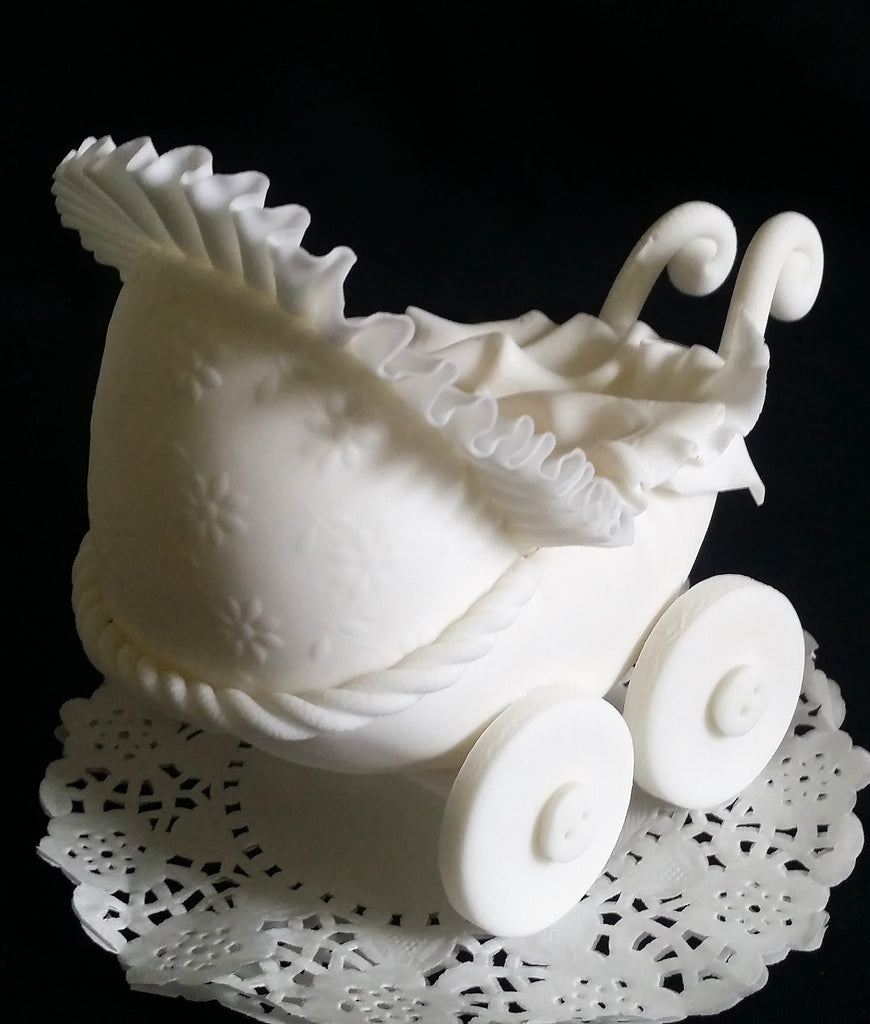 Baby Carriage Cake Topper Baby Shower Cake Decor Carriage Pink White