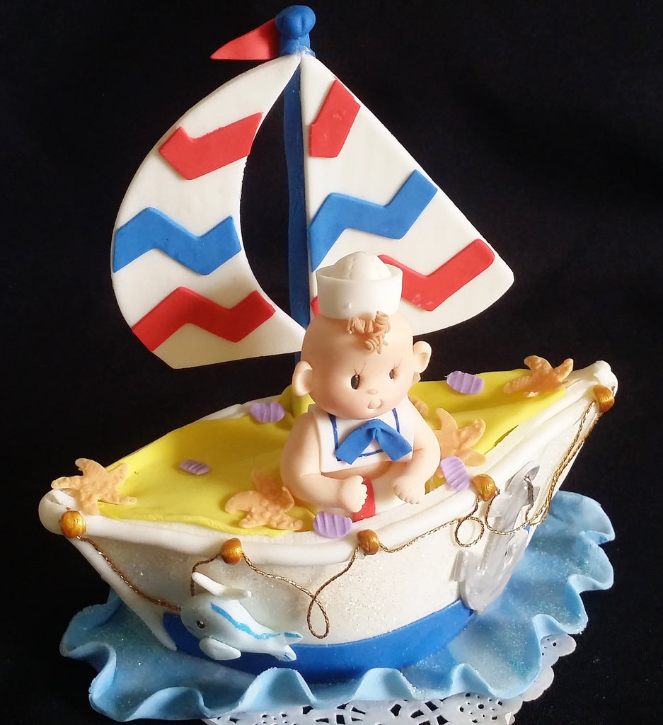 Nautical Birthday Cake Topper Sailor Baby Shower Nautical Birthday