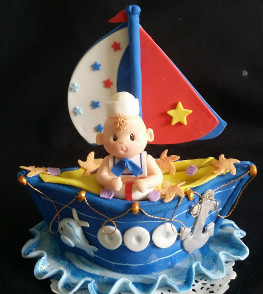 Nautical Birthday Red Blue Nautical Baby Shower Sailor Decorations Baby Sailor Tooper - Cake Toppers Boutique