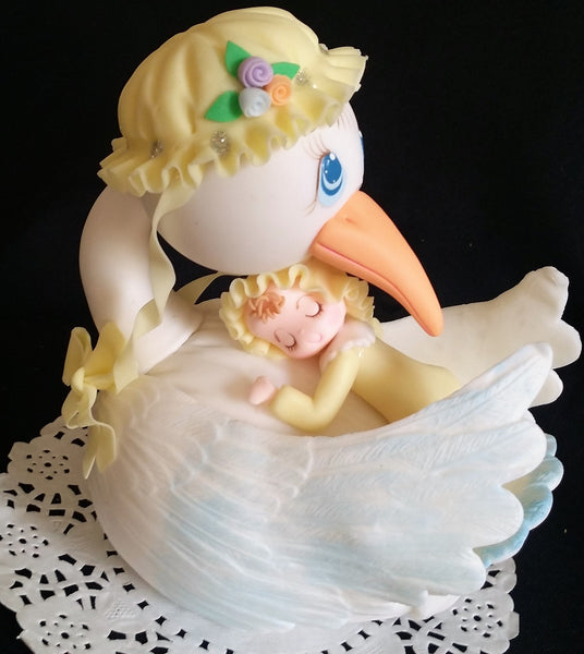 Stork with Baby Cake Topper Mommy Stork Topper Baby Shower Storks in Pink Yellow or Blue - Cake Toppers Boutique