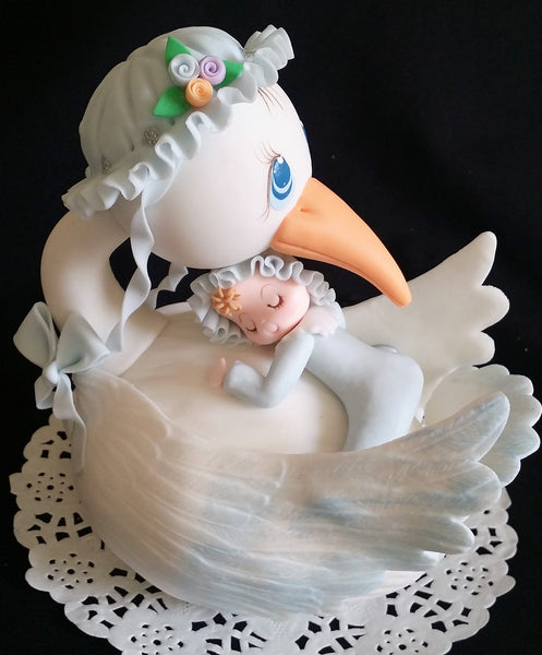 Stork With Baby Cake Topper Mommy Stork Centerpiece Topper