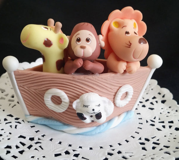 Noah's Ark Cake Toppers Noah's Ark Baby Shower Favors Noah's Ark with Giraffe Lion Monkey Lamb - Cake Toppers Boutique