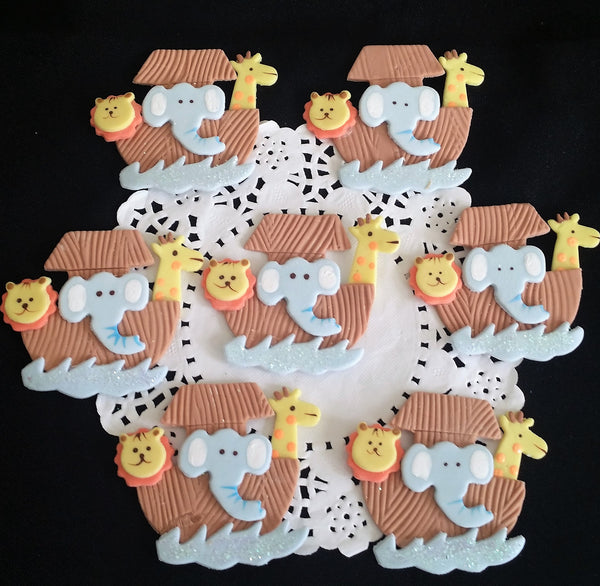 Noah's Ark Cupcake Decorations Birthday Noah's Ark for Corsages Ark with Animals 12pcs - Cake Toppers Boutique