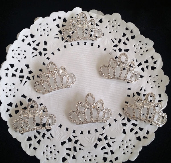 RhinestoneCrown Brooch Silver Princess Crown Headband and Corsage Crown Brooch 6pcs - Cake Toppers Boutique