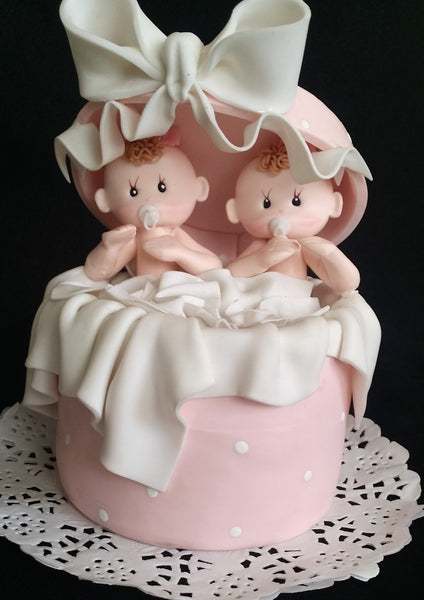 Twins Baby Shower Twins Babies Cake Topper, Twin Girls Cake Decorations Baptism Cake Topper - Cake Toppers Boutique