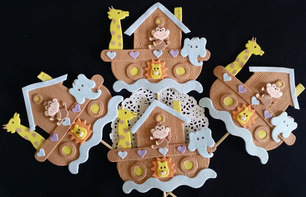Noah's Ark Birthday Ark Cake Decoration Noah's Ark Centerpiece Picks Ark w Animals Decorations - Cake Toppers Boutique
