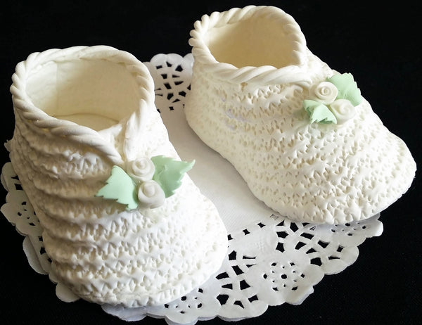 Baby Booties Cake Topper Baby Shoes Cake Decoration in Blue White Pink 2pcs - Cake Toppers Boutique