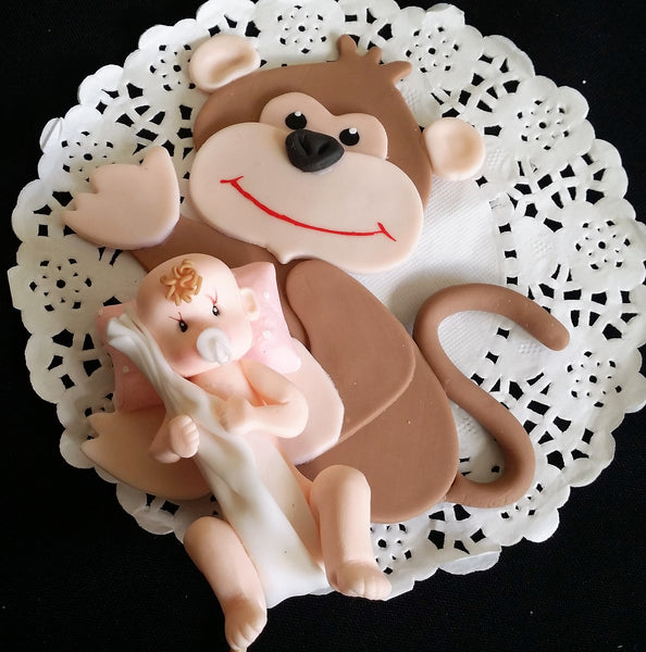 Baby and Monkey Cake Topper Monkey Cake Decorations Jungle Baby Shower 2pcs - Cake Toppers Boutique