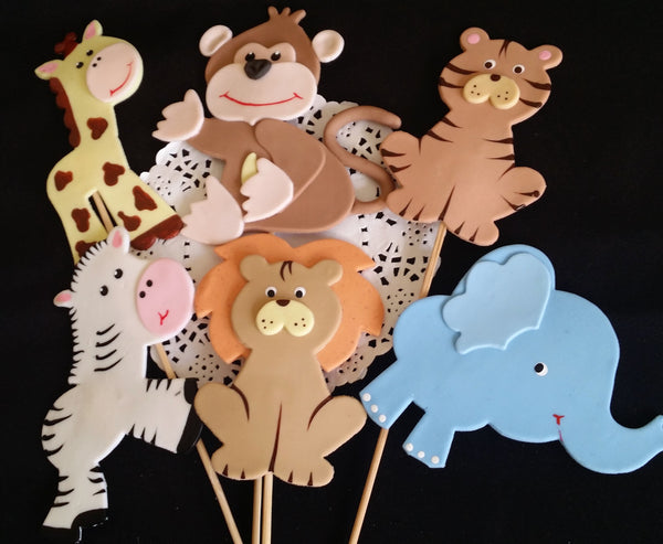 Jungle Birthday Party Decoration, Jungle Centerpieces, Zoo Birthday Favors, Baby Animal Decoration 12Pcs - Cake Toppers Boutique