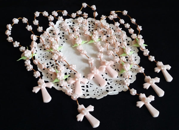 White Pink or Blue Rosaries Favors for Baptism and First Communions, Confirmations Keepsakes 12pcs - Cake Toppers Boutique