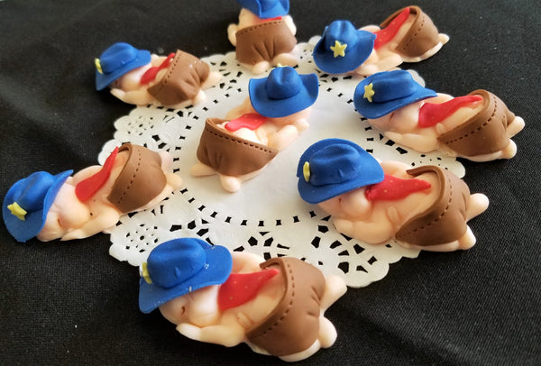Baby Cowboy and Cowgirl Cupcake Toppers Corsage Babies With Cowboy and Cowgirl Hats 12pcs - Cake Toppers Boutique