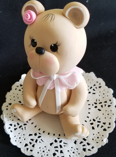 Pink Bear Cake Topper Pink Bear Cake Decorations Teddy Bear with Pink Bib Bear Cake Topper - Cake Toppers Boutique