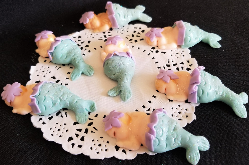 Mermaid Babies for Cupcakes & Corsages Mermaid Baby Shower Favors Under the Sea Babies 12pcs - Cake Toppers Boutique