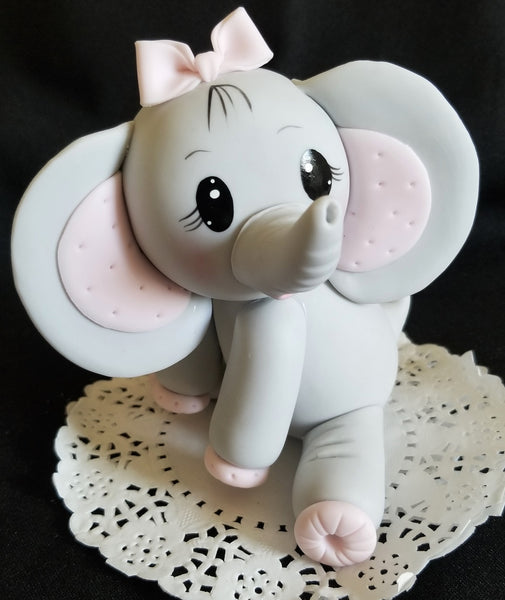 Elephant Cake Topper Gray Elephant with Blue Or Pink Decorations Baby Elephant Cake Topper - Cake Toppers Boutique