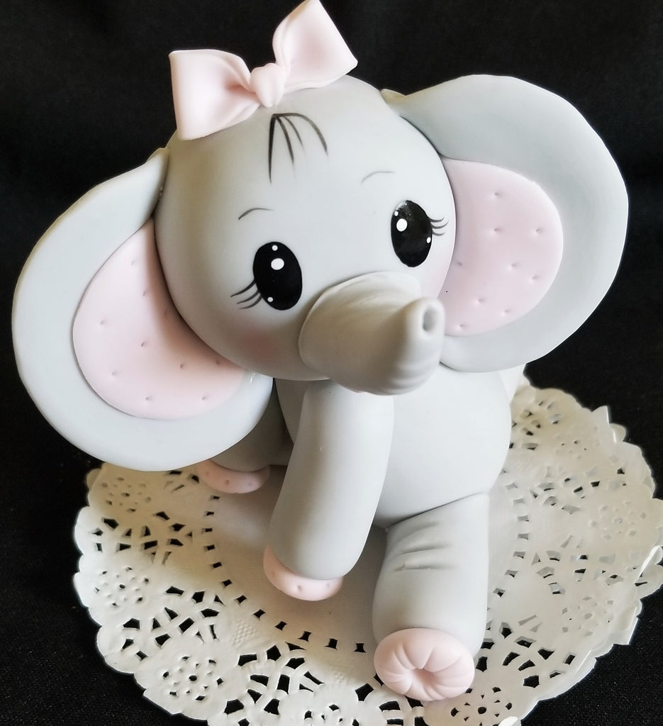 Elephant Cake Topper Gray Elephant with Blue Or Pink ...