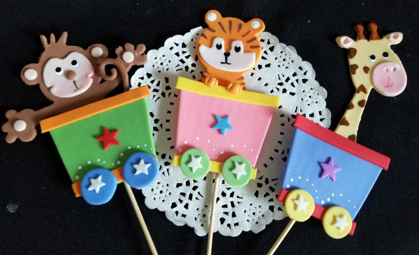 Circus Cake Toppers Circus Centerpiece Picks Clown with Circus Animals Party Decor 6pcs - Cake Toppers Boutique
