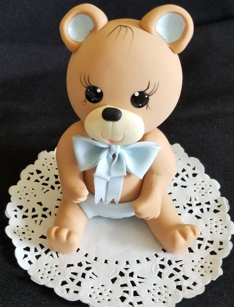 Bear Cake Topper Baby Shower Teddy Bear Cake Topper Pink or Blue Bear for Cake Decorations - Cake Toppers Boutique