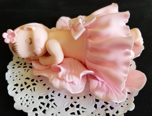 Baby Ballerina Cake Decoration, Baby Girl Cake Topper, Baby Sleeping on Pink Flower Petals - Cake Toppers Boutique