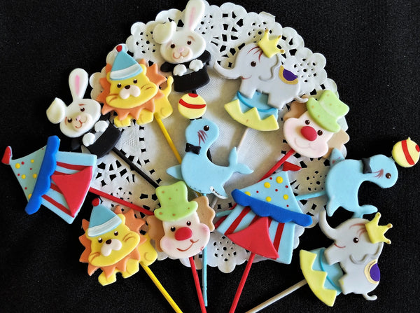 Circus Cupcake Toppers, Birthday Cupcake Topper, Circus Birthday Party, Circus Decoration 12pcs - Cake Toppers Boutique
