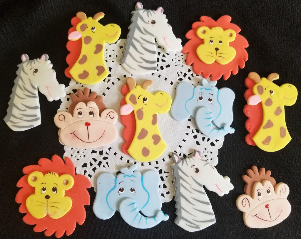 Jungle Safari Animal Faces Cupcake Toppers Zoo Animals Birthday And Baby Shower Decorations 12pcs