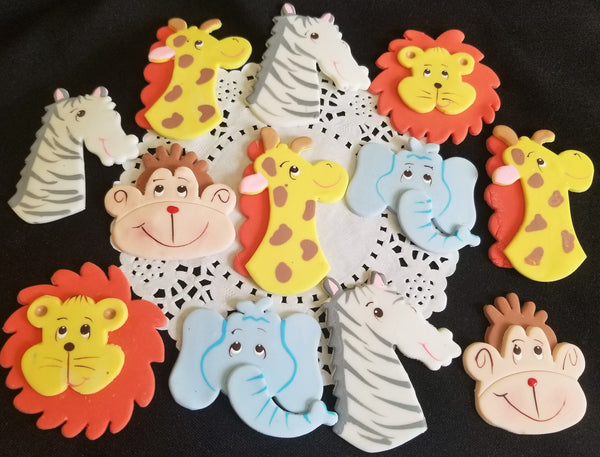 Jungle Safari Animal Faces Cupcake Toppers Zoo Animals Birthday and Baby Shower Decorations 12pcs - Cake Toppers Boutique