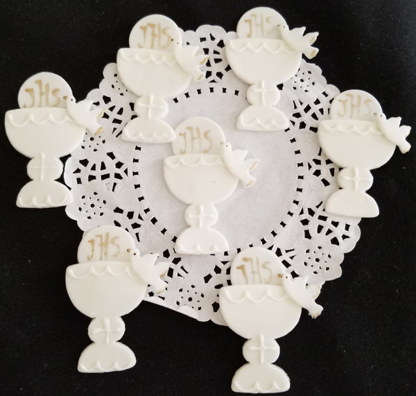 Communion Cupcake Topper Communion Chalice Figurines White and Gold Chalice Favors 12pcs - Cake Toppers Boutique
