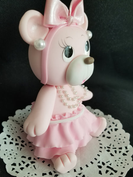 Pink Bear Cake Topper, Bear Cake Decorations, Pink Teddy Bear Cake Decorations - Cake Toppers Boutique