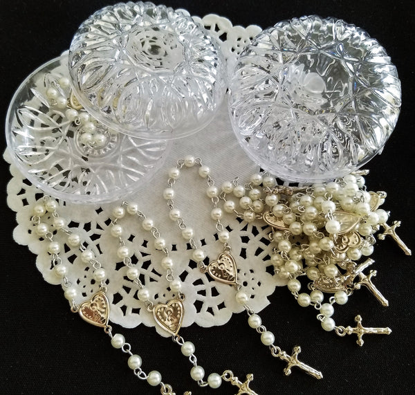 12 Silver Rosaries, Baptism Rosaries Favors, White Pearl Rosaries Favors - Cake Toppers Boutique